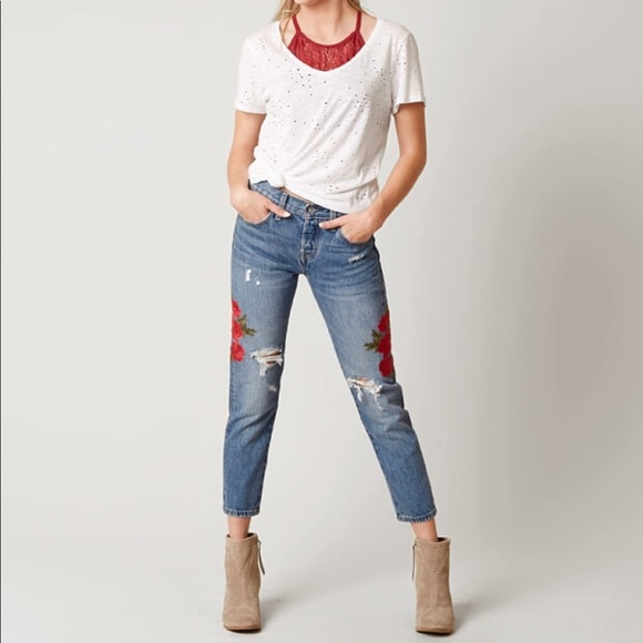 9a2772a7 Levi's Jeans | Levis 501 Cropped Taper Jean Embroidered Roses | Poshmark